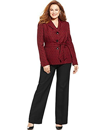 Le Suit Womens Jacquard-blazer Belted Pantsuit,ruby Black, 4