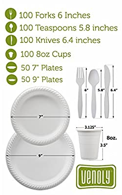 "Venoly 100% Biodegradable Cutlery Combo Set - 500 Piece Set -100 Forks, Knives, Cups and Teaspoons, 50 7"" and 9"" Plates - BPA Free Disposable Paper Goods Made with Cornstarch - by"