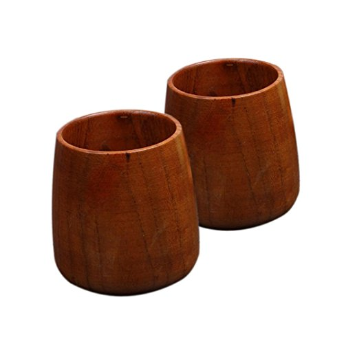 Longay 2PCS Handmade Wooden Beer Milk Coffee Tea Mug Wood Water Cup Home Bar Drinkware Wooden Utensil (Drinkware Bar)