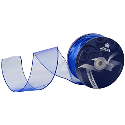 Royal Blue Organza Wired Sheer Ribbon 2.75