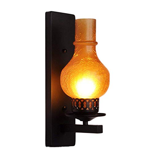 ZLHW E27 Antique Oil Lamp Wall Lamp Vintage Kerosene Lamp Traditional Wall Mounted Security Lights Decorated Home Living Room Kitchen Bar Vintage Industrial Single Head Wall Light Sconces