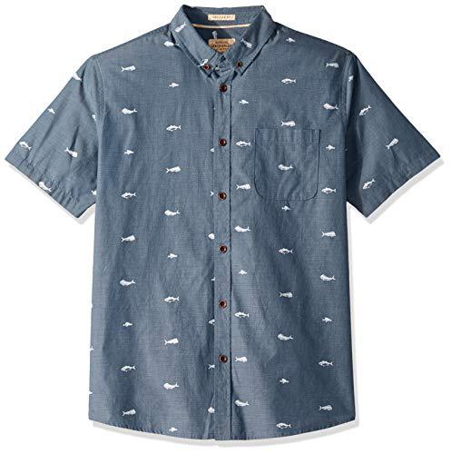 Quiksilver Waterman Men's Spun Reel Button Down Shirt, Orion Blue, -