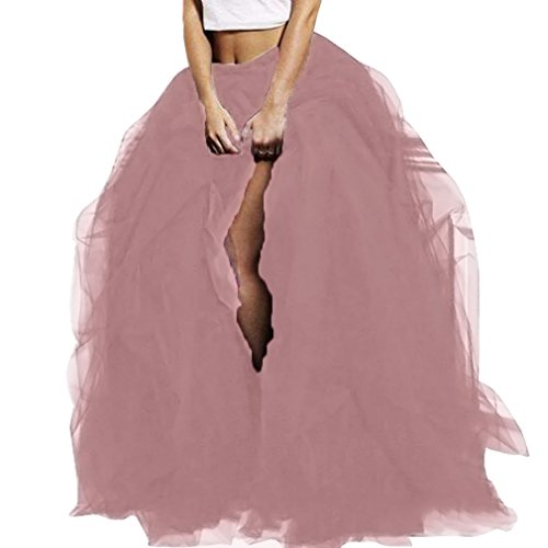 Wedding Planning WDPL Long Women's Special Occasion Slit Tulle Evening Skirt (Dusty Pink, XX-Large)