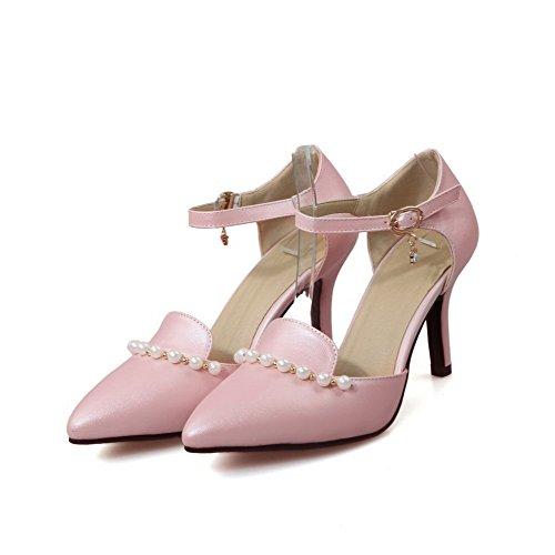 AllhqFashion Damen Rein PU Leder Hoher Absatz Spitz Zehe Schnalle Pumps Schuhe Pink