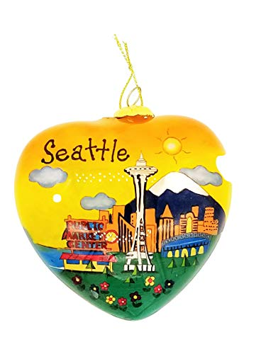 SEATTLE CHRISTMAS ORNAMENT Hand Painted Heart Shape Blown Glass ! Collectors Piece LIMITED EDITION 100 PIECES