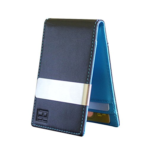F&H Minimalist Slim Leather Wallet Money Clip Holds 8 Cards (Smooth Black/ Aqua)