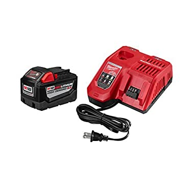 Milwaukee 48-59-1890 M18 REDLITHIUM HIGH DEMAND 9.0 Ah Starter Kit-48-11-1890 M18 9.0 Ah + 48-59-1808 M18 Battery Rapid Charger Starter Kit