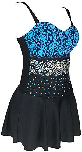 ProEtrade® Women Plus Size Swimdress Floral Swimsuit Beachwear Bikini Swimwear(US16 Dark Blue)