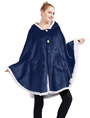 Yishide Wearable Poncho Blanket, Throw Cape Cozy and Warm with Soft Sherpa, Angel Wrap Hooded with White Sleeve Edges for Women Gift (Navy)