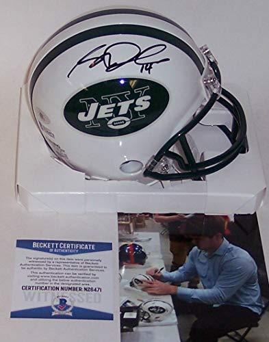 Sam Darnold Autographed Hand Signed Riddell NY Jets Mini Football Helmet - BAS Beckett