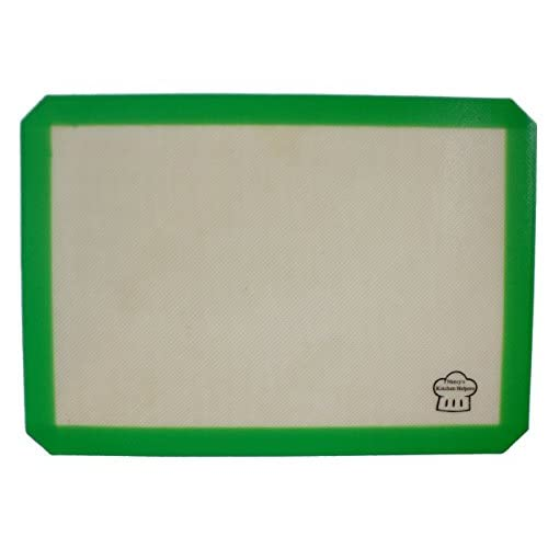 Nancy's Kitchen Helpers Silicone Baking Mat, 16 1/2 x 11 5/8 Inches, Half-Sheet, Green Border
