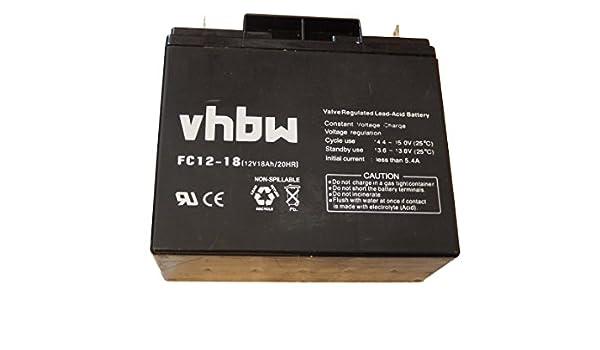 Batería VRLA / AGM plomo-ácido 18000mAh 18Ah (12V) marca vhbw para ...
