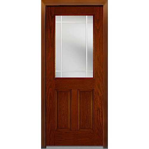 National Door Company Z007006L Fiberglass Oak, Warm Chestnut, Left Hand In-swing, Exterior Prehung Door, Internal Grilles 1/2 Lite 2-Panel, 36''x80'' by National Door Company