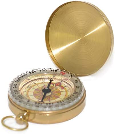 This is an image of a compass in golden shade.