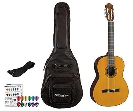Yamaha CGX serie Cgx102 clásica bolsa de guitarra eléctrica Bundle (con funda)