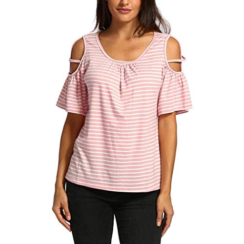 Blouse Shirts Tshirt Manches Bouffant Chic Off Courtes Shoulder Elgante Col Loisir Chemisiers Haut Mode Fille O Femme Pink 2 Costume Rayures Ete wfqtPHTxc