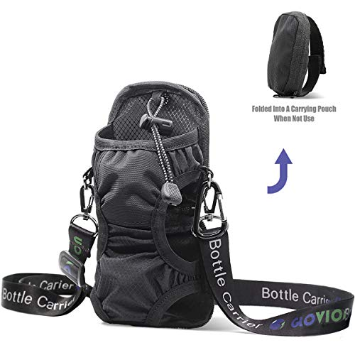 Glovion Portable Water Bottle Holder (Instantly Folded into Pouch Not Use for Carry),Bottle Carrier with Detachable Adjustable Shoulder Strap, Water Bottle Sling Bag with Carabineer for ()