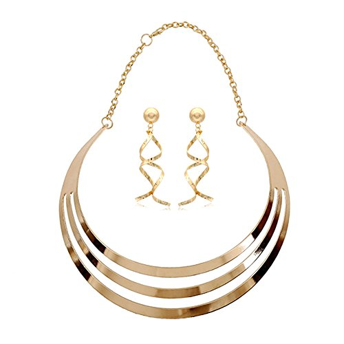 Metal Chunky Statement Choker Statement Necklace Set Twist Curved Spiral Earrings (Gold Set 1)