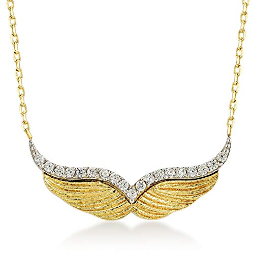 Gelin 14k Yellow Gold Two Tone Angel Wings with Cubic Zirconia Pendant Necklace for Women, 18