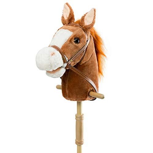HollyHOME Outdoor Stick Horse with Wood Wheels Real Pony Neighing and Galloping Sounds Plush Toy Dark Brown 36 Inches(AA Batteries Required)