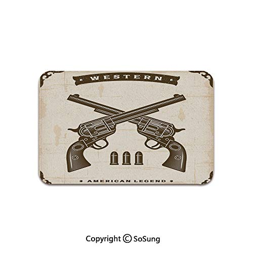 Western Area Rug,Vintage Western Revolvers in Crossed Position with Bullets Stylized Framework Decorative,for Living Room Bedroom Dining Room,6'x 4',Tan Dark Brown
