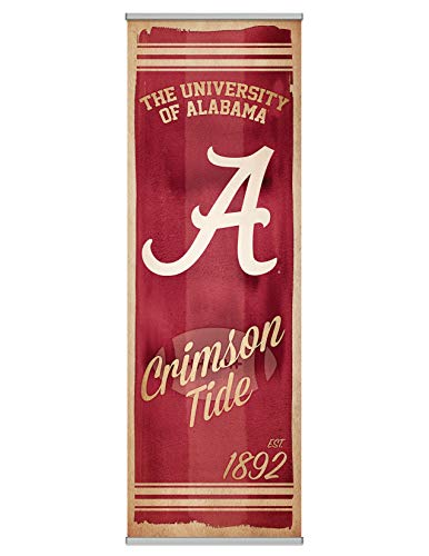 NCAA University of Alabama Crimson Tide Premium Canvas FanPanel. Instant Decor for Doors, Walls and Hallways. Great NCAA Gift Showing Team Pride. 72 Inches Tall by 24 Inches Wide. Easy to Install ()