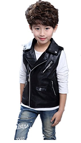 Fashion Faux leather Motorcycle Dress Casual Boys or Girls Joker Vest Black 140(8-9T)