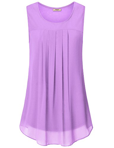 Timeson Loose fit Tank top,Sleeveless Tunics for Women, Womens Casual Tank Top Comfy Sleeveless Tunic Shirt Breathable Lightweight Blouse Top Light Violet X-Large (Layer Double Cami)