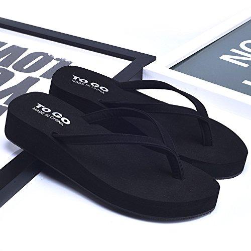 Slippers HAIZHEN Women shoes Women's Summer Fashion Non-slip X Rubber Sole Soft Beach Cool White/Black/Gold/Orange for Women (Color : White, Size : EU38/UK5.5/CN38) Black