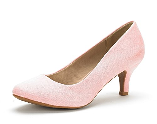 DREAM PAIRS Women's Luvly Pink Suede Bridal Wedding Low Heel Pump Shoes - 8.5 M US
