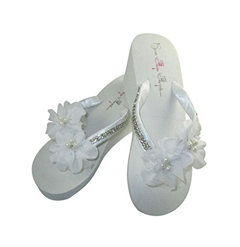 - Bridal Flip Flops, White High 3.5 inch Wedge Heel, Diamond Satin Straps, Chiffon Pearl Flowers