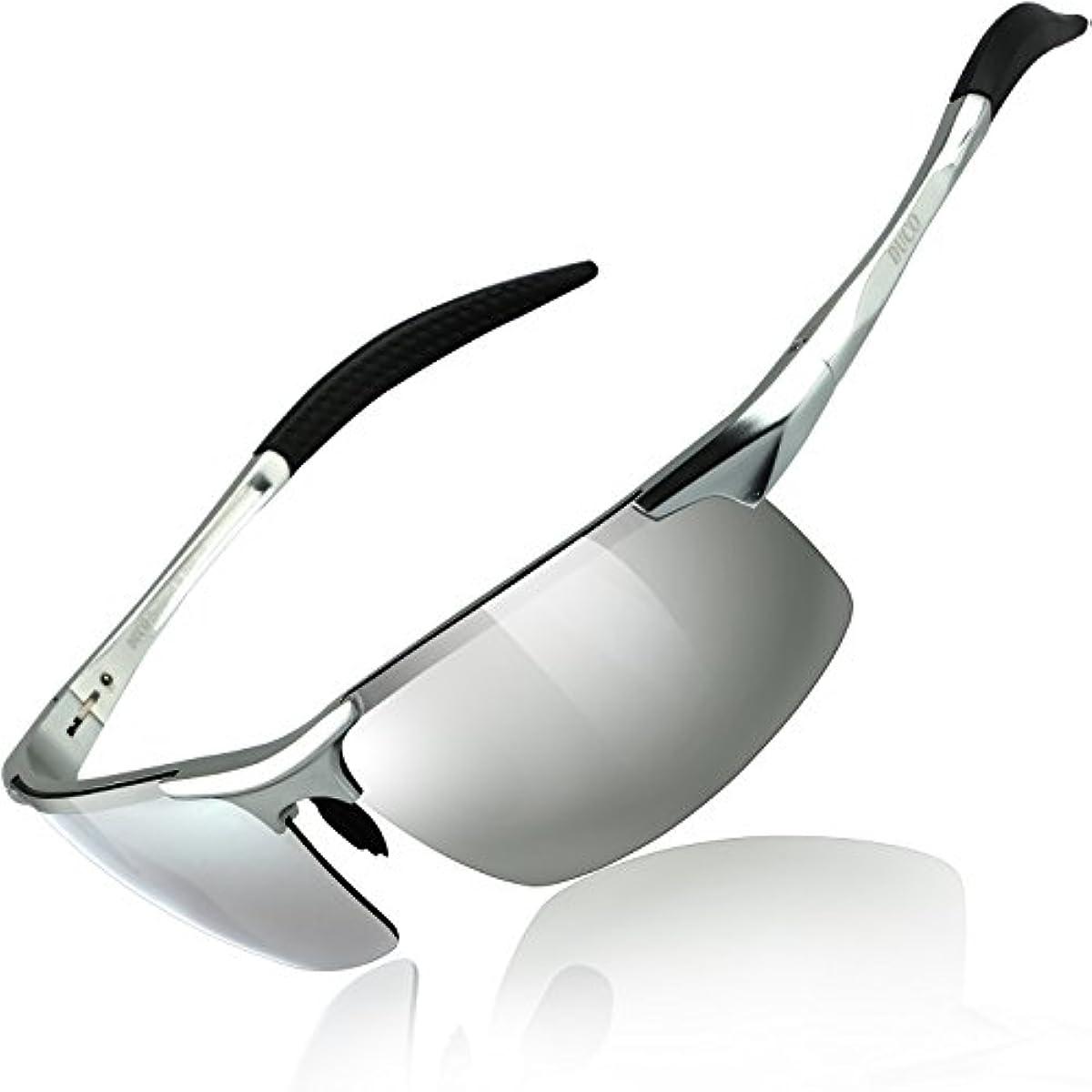 [해외] DUCO 스포츠 썬글라스 맨즈 편광 썬글라스 UV400보호 AL-MG합성피혁금초 경량 운전/자전거/낚시/야구/스키/런닝/골프용 8177S