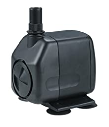 600 GPH Magnetic Drive Fountain Pump - Works in Saltwater and Freshwater Ponds and Water Gardens - Multiple Uses - Quiet, Reliable, Highly Efficient - Submersible - Black