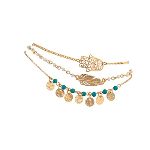 Hamsa Evil Eye Leaf Feather Synthetic Turquoise Bead BFF Best Friends Forever Anklet Set