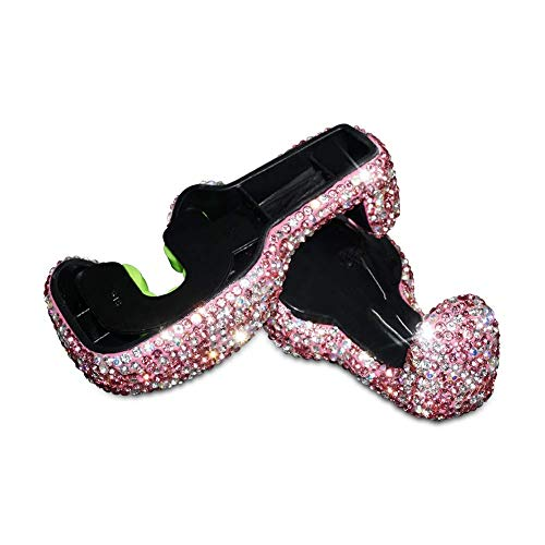 EING 2 Pcs Car Headrest Hanger Auto Back Seat Hook with Bling Crystal Rhinestones - Pink