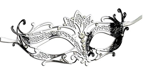 [Luxury Mask Women's Laser Cut Metal Tiara Venetian Pretty Masquerade Mask, Silver/Clear Stones, One] (Silver Mask)