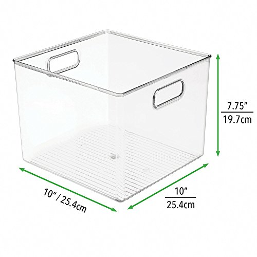 mDesign Plastic Storage Organizer, Holder Bin Box with Handles - for Cube Furniture Shelving Organization for Closet, Kid's Bedroom, Bathroom, Home Office - 10'' x 10'' x 8'' high - 2 Pack, Clear by mDesign (Image #2)