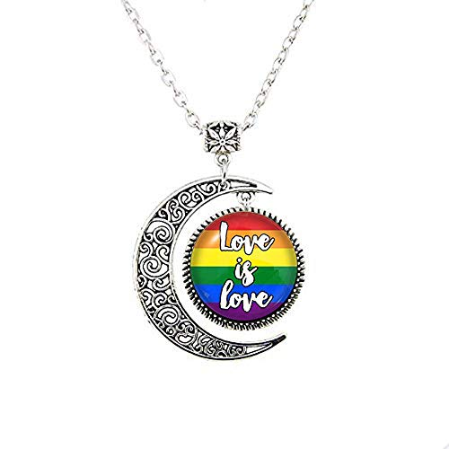 Love is Love Gay Pride Moon Necklace, Glass Dome Pendant, LGBT Gift, Charm -