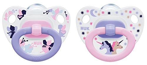 NUK 10177063 Happy Days Silikon - Schnuller mit Ring, kiefergerecht, Größe 3, 18 - 36 Monate, 2 Stück, Girl