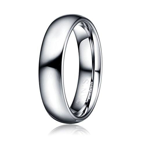 TAN'S 6mm Men's Women's Tungsten Carbide Engagement Ring Wedding Band in Comfort Fit High Polished Shiny