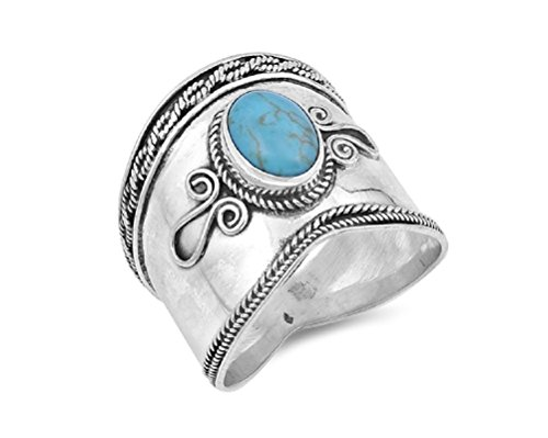 CloseoutWarehouse Rope Bezel Set Simulated Turquoise Bali Designer Ring Sterling Silver Size 6