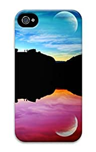 3D PC Case Cover for iPhone 4 Custom Hard Shell Skin for iPhone 4 With Nature Image- Colorful Moon