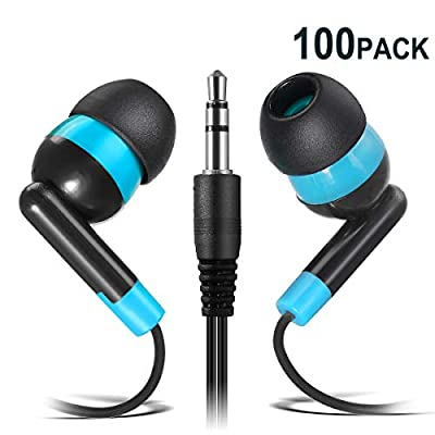Wholesale Earphones Bulk Earbuds Headphones - Keewonda 100 Pack Ear Buds Classroom Bundle Packs Headphones Disposable Student Earbuds for Kids School Library