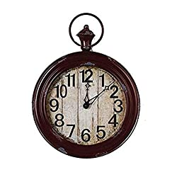 Metal Wall Clocks Large Weathered Finish Round Pocket Watch Style Wall Clock-red