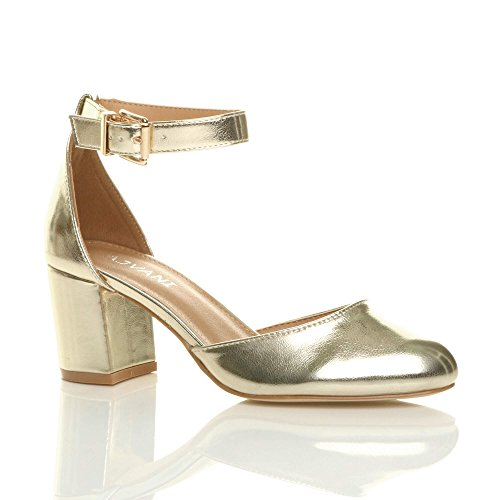 Ajvani Womens Ladies Low mid Block Heel Ankle Strap Mary Jane Court Shoes Sandals Size Gold Metallic