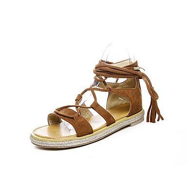 Zormey Sandalias Mujer Primavera Verano Otoño Club Zapatos Exterior De Piel Sintética De Gladiador Vestir Casual Talón Plano Zipper Borla US10.5 / EU42 / UK8.5 / CN43