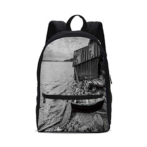 Black and White Decor Fashion Canvas printed Backpack,Old Wooden Fishing Boat and Abandoned Barn on Lake Coastal Charm Picture for school,One_Size