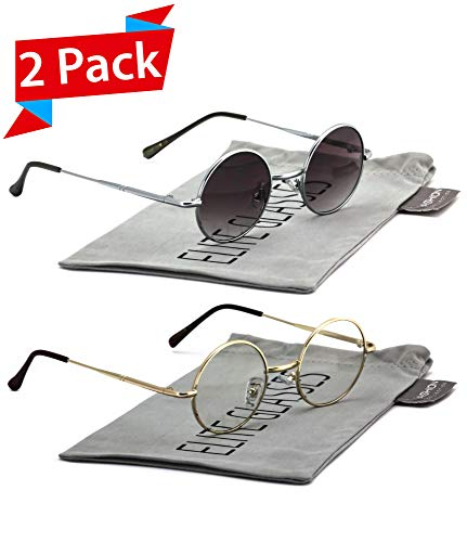 John Lennon Hipster Fashion Sunglasses Small Metal Round Circle Elton Style (2 PACK: Silver Smoke Lens and Gold Clear, 40)