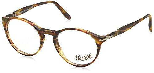 Persol Montures de lunettes 3092 Striped Grey, 46mm Brun/beige, motif tâcheté