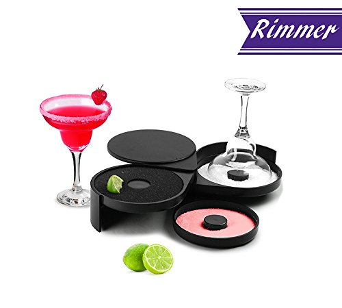 Margarita Salt Rimmer by Tezzorio, Glass Rimmer with 3 Compartments and Sponge, Sugar and Salt Bar Rimmer Great for Cocktails Margarita, Bloody Mary Gimlet, Professional Bar Supplies (Rim Margarita)